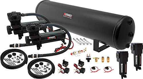 Vixen Air Suspension Kit for Truck/Car Bag/Air Ride/Spring. On Board System- Dual 200psi Compressor, 5 Gallon Tank. for Boat Lift,Towing,Lowering,Load Leveling,Bags,Onboard Train Horn VXO4852DBF