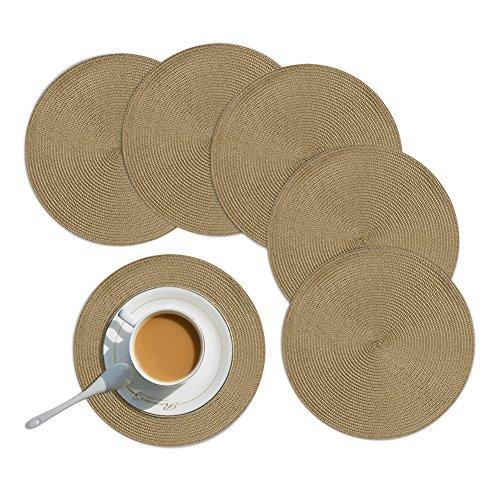 Homcomodar Runde Platzsets Abwaschbar Tischset 6er Hitzebeständing Platzdeckchen Rund für Küche 34cm(Khaki)