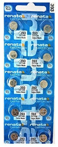 Renata 393 SR754W Lot de 10 piles de montre 1,55 V Fabriquées en suisse