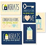 36 Pack House Warming Congratulations On Your New Home Greeting Cards, 6 Unique Style Designs, Bulk Box Card Set Variety Assortment, Envelopes Included, 4 x 6 Inches