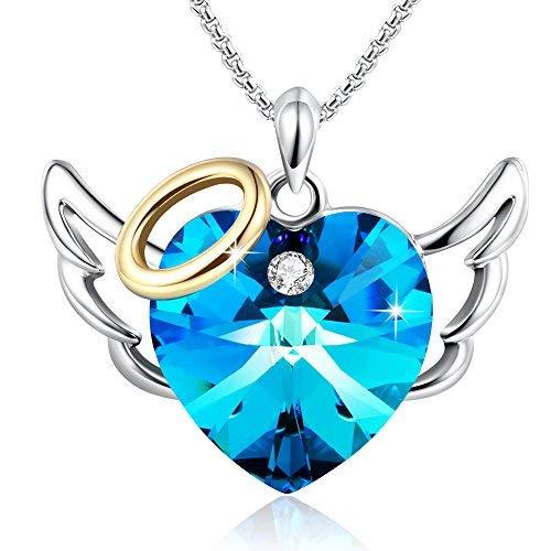 GEORGE · SMITH Collier Pendentif Coeur pour Femme Collier Coeur Amour avec Cristal Bleu Rose, Cadeau Bijoux Anniversaire Fille