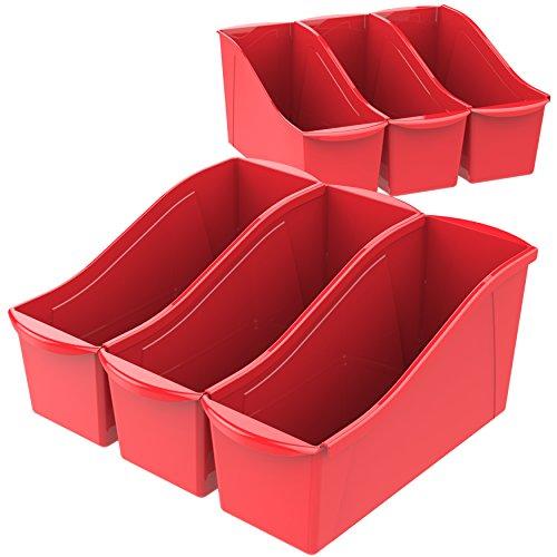 Storex Large Book Bin, 14.3 x 5.3 x 7 Inches, Red, Case of 6 (71116U06C), 14.3 x 5.3 x 7 Inches, 6-Pack