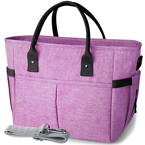 KIPBELIF Insulated Lunch Bags for Women - Large Tote Adult Lunch Box for Women with Shoulder Strap, Side Pockets and Water Bottle Holder, Purple, Extra Large Size