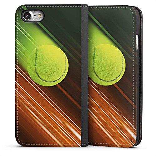 DeinDesign Leder Flip Case kompatibel mit Apple iPhone 7 Tasche Hülle Tennis Tennisball Speed