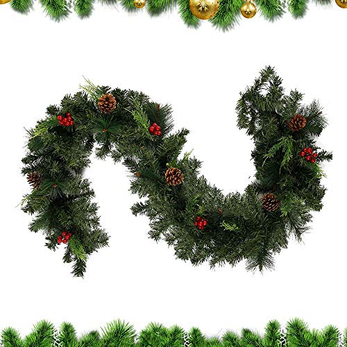 6FT(1.8M) Christmas Garland Decorations , Pre-Lit Decorated Garland with Lights Red Berry Decorations Rattan Artificial Vine for Xmas Festival Tree Display Indoor Outdoor Christmas Decor (30 LEDS)