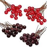 BBTO - Bayas artificiales de acebo. 100 bayas de 10 mm para decoración de árbol de Navidad, corona de flores, uso artesanal