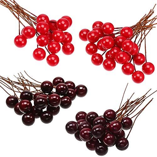 Künstliche Holly Beeren, 100 Stück Mini 10 mm Gefälschte Beeren Dekor auf Draht für Weihnachtsbaum Dekoration Blumenkranz DIY Handwerk Verwenden (Weinrot)