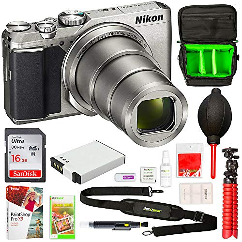 Nikon 26505B COOLPIX A900 20MP 4K WiFi Digital Camera w/ 35x Optical Zoom Silver + 16GB Deluxe Bundle - (Renewed)
