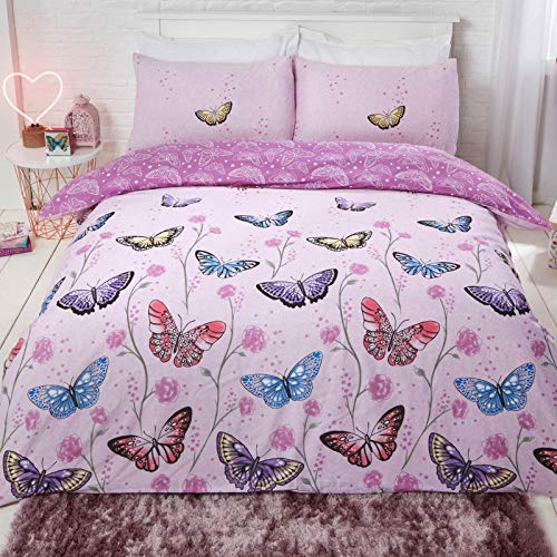 Dreamscene Butterfly Heaven Duvet Cover with Pillowcase Reversible Floral Bright Bedding Set, Purple, Double Size