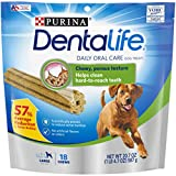 18-Count Pouch - Purina DentaLife Daily Oral Care Large Dog Treats Scientifically proven to have a 57% average reduction in tartar buildup, which helps freshen breath Eight distinct ridges and a porous texture help clean hard-to-reach teeth down to t...
