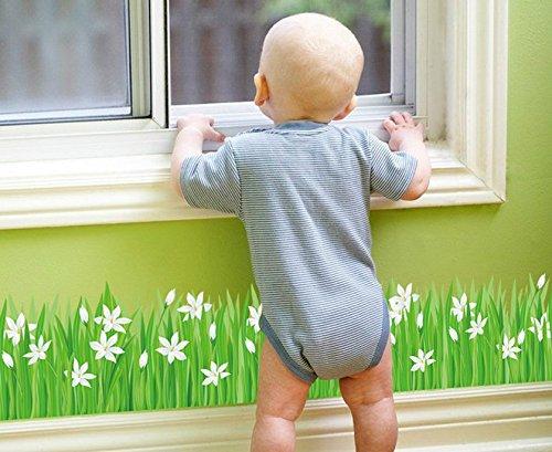skyllc 2PCS Schöne Sayuri Wiese Fußleiste Bad Küche Eingangstür und Fensterdekoration Wandaufkleber