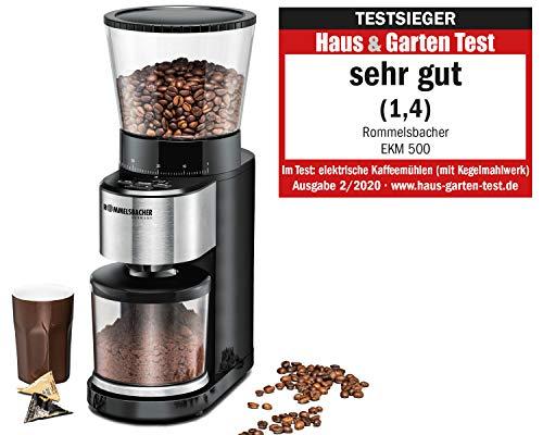 ROMMELSBACHER Kaffeemühle EKM 500 - Kegelmahlwerk, Präzisions-Waage, Halterung für Siebträger, Mahlgrad in 39 Stufen, 5 Funktionstasten für individuelle und flexible Nutzung