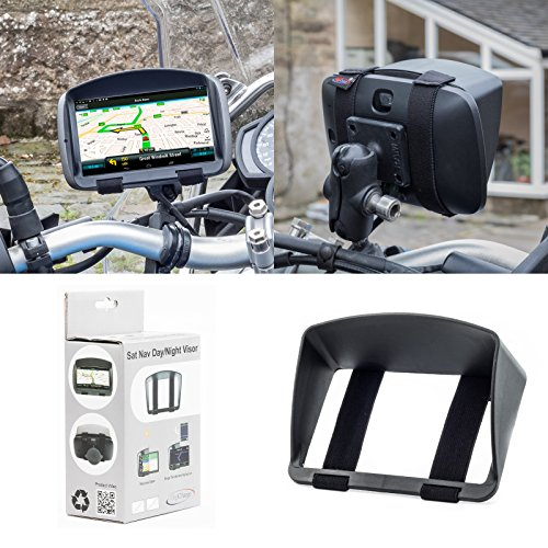 Sonnenschutz Visier für Motorrad oder Fahrrad Navigationsgerät Navi Sat Nav Garmin Zumo 595LM 396LMT-S 346LMT-S 396 346 LMT-S LMT TomTom Rider 500 550 450 420 TOM TOM 42 410 40 Mit 5'' oder 4,3'' LCD Screen Anti-Glare GPS mit sicherer und robuster Armband passend Design aus Digicharge® Von Digital Accessories Ltd