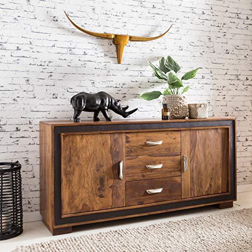FineBuy Sideboard Karna Sheesham Massiv Holz 160 x 80 x 44 cm mit Kunstleder | Kommode mit Türen & Schubladen | Massive Design Anrichte | Massivholz Schrank