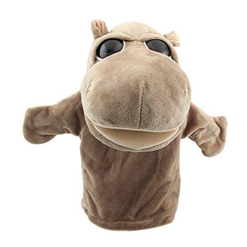 REFURBISHHOUSE Nette Pluesch-Velours Tierhandpuppen Schick Designs Kind Kinder Lernhilfe Spielzeug (Nilpferd) Gray