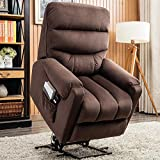 CANMOV Power Lift Recliner Chair for Elderly- Heavy Duty and Safety Motion Reclining Mechanism-Antiskid Fabric Sofa Living Room Chair with Overstuffed Design, Dark Brown