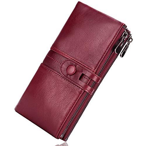 ROULENS - Portafogli da donna in vera pelle, multifunzione, sottile, con cerniera, grande capacità porta carte con RFID (rosso)