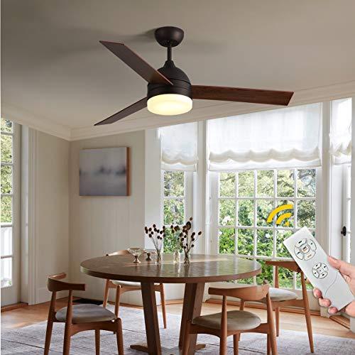 NEWSEE 122cm Deckenventilator mit Beleuchtung und Fernbedienung, Dimmbarer LED 18W, Geeignet für Sommer, Helle/dunkle Holzmaserung