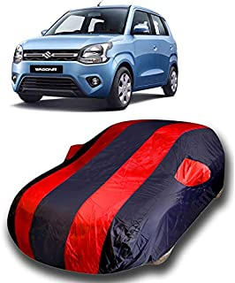 ROYALS CHOICE Water Resistant Car Cover Maruti Suzuki Wagon R VXI Opt 1.2 2019 (Strips Red with Mirror Pockets)