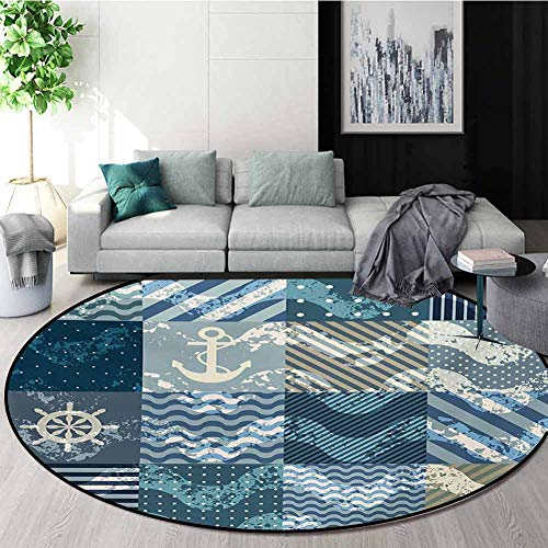 Best Buy! RUGSMAT Nautical Modern Machine Round Bath Mat,Marine Theme Wave Patterns in Patchwork Sty...