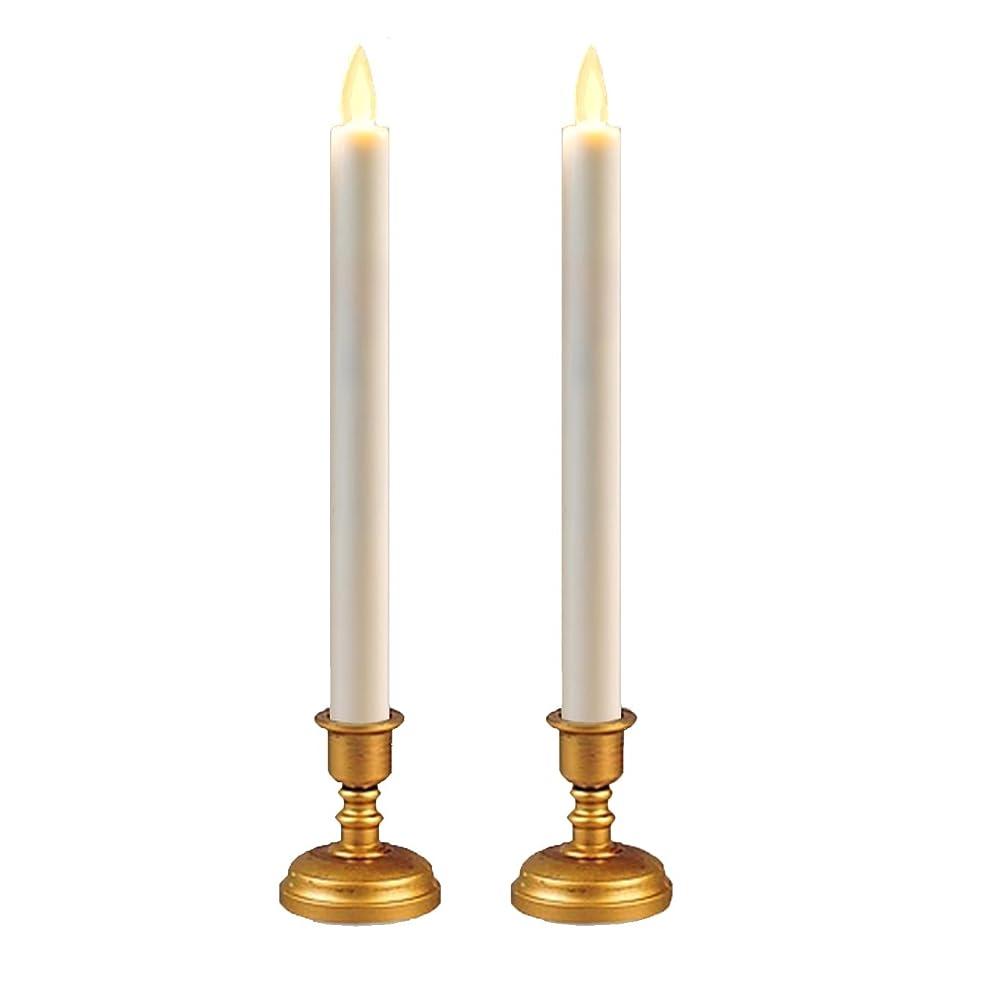 些細貫通するスラム<スティックタイプ> Exclusif LEDキャンドル 揺らぐ炎 燭台付き2本セット リモコンでラクラク 操作Moving LED Candle
