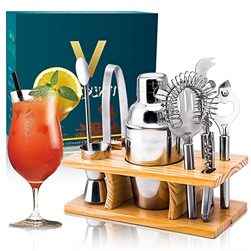Vinekraft Cocktail Making Set Cocktail Shaker Accessories Set with Wooden Holder -8 Pieces