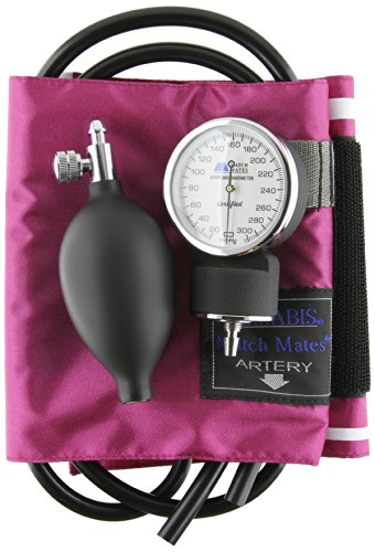 MABIS MatchMates Aneroid Sphygmomanometer Manual Blood Pressure Monitor Kit with Calibrated Nylon Cuff and Carrying Case, Professional Quality, Magenta