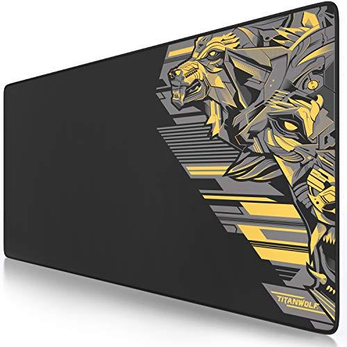 CSL - XXL Mauspad Gaming Titanwolf 900 x 400mm - XXL Mousepad groß mit Motiv - Tischunterlage Large Size - verbessert Präzision und Geschwindigkeit - auch für Roccat Razer Logitech Maus und Tastatur