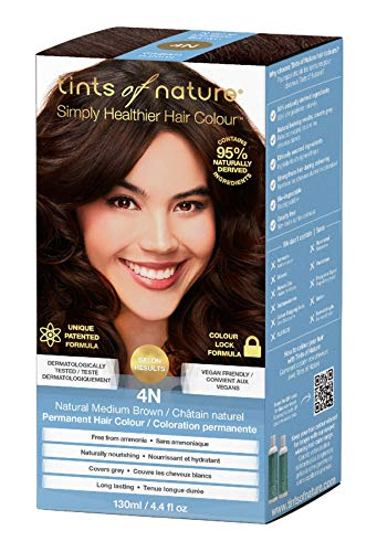 Tints of Nature 4N Natural Medium Brown Permanent Hair Dye | A Classic Brunette Home Hair Colour Kit | Vegan Friendly | 130ml / 4.4 fl oz