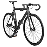 4. Retrospec by Westridge Bicycles Drome Fixed-Gear Track Bike with Carbon Fork, Matte Black, 58cm/Large