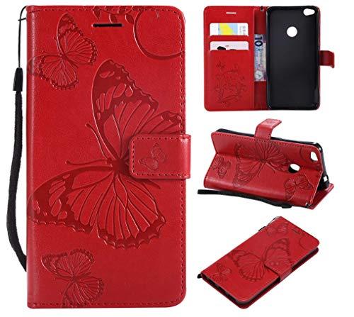 Huawei P8 Lite 2017 Hülle,THRION PU Schmetterling Brieftaschenetui mit magnetischer Handschlaufe und Ständerhalterung für Huawei P8 Lite 2017, Rot