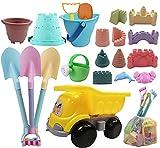 IOKUKI Long Shovels Sand Toys Set with Mesh Bag Including Dump Truck, Castle Building Kit Beach Buckets, Shovels, Rakes, Molds, Outdoor Beach Toys Tool Kit for Kids, Toddlers, Boys and Girls (22 PCS)