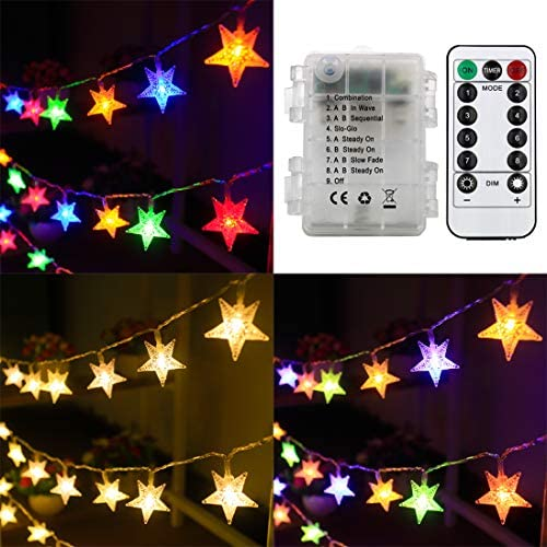 Xingpold Star String Lights Battery Operated Christmas Star Lights 50 LED 16 4 ft Color Changing product image