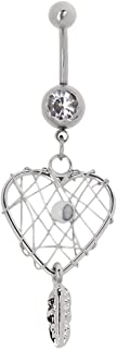 Baoblaze Love Crystal Rhinestone Stainless Steel Dream Catcher Belly Button Ring Navel Jewelry