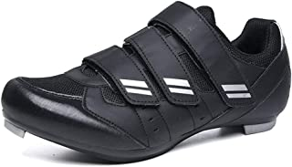 OneChange Cycling Shoes Mens, Women Outdoor Sports Road Bike Shoes Triple Velcro Strip Breathable MTB Bike Shoes for Road Mountain Bikes (Color : Black, Size : 7 UK)