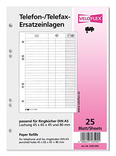 Veloflex 5359.000 Ersatzeinlage f.Tel.-Ringbuch 5158 25Bl