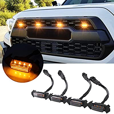 KanSmart Smoked LED Grille Lights for 2016 2017 2018 Toyota Tacoma TRD Pro, Lighting Kit with Fuse Adapter & The Wiring Harness (4 PCS?Smoked Shell with Yellow Light)