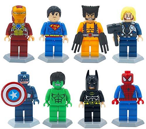 Marvel Avengers Superheroes, Thor, DeadPool, Batman, Spiderman, IronMan, Wolverine, Capitán América, Hulk Mini Figures Fit Lego y la mayoría de los principales ladrillos y bloques