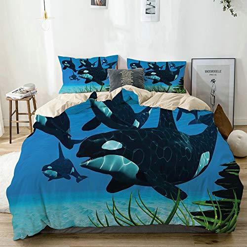 AIMILUX Bedding Juego de Funda de Edredón,La Manada de orcas Nada a l