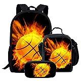 chaqlin - Mochila para niñas con bolsa de almuerzo para escuela secundaria y primaria grandes librerías de baloncesto de fuego, Poliéster, Patrón-4 (3 piezas/juego), Talla única