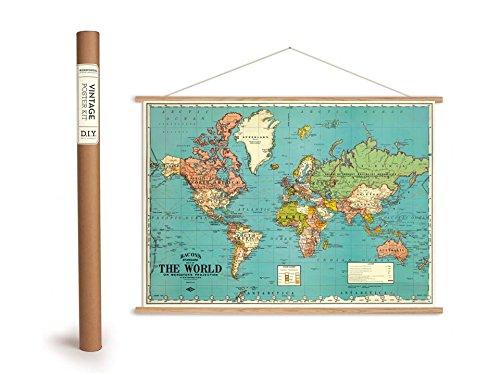 Cavallini Vintage Poster Set mit Holzleisten (Rahmen) und Schnur zum Aufhängen, Motiv Bacons Weltkarte, Bacons Standard The World