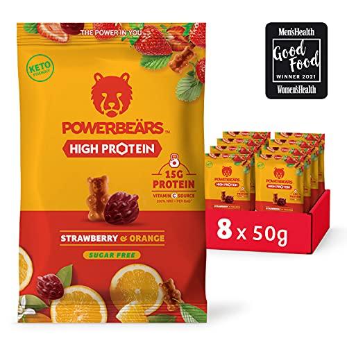 Powerbeärs High Protein Sugarfree Erdbeere & Orange - Proteinreiche Gummibärchen ohne Zucker - 8er Pack (8 x 50g Beutel)