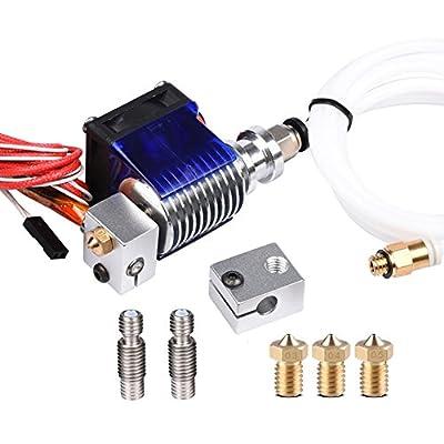 Wangdd22 E3D V6 Hot End Full Kit 1.75mm 12V Bowden/RepRap 3D Printer Extruder Parts Accessories 0.4mm Nozzle