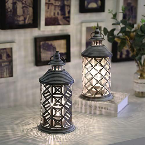 Preisvergleich Produktbild JHY Design 2er-Set Metalltischlampe Batteriebetriebene 26, 4 cm hohe Akku-Lampe mit Edison-Glühbirnenbatterie Ideal für Wohnzimmer-Schlafzimmerpartys im Innen- und Außenbereich (quadratisches Muster)