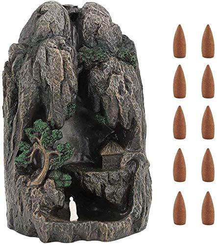 Resina en Forma de montaña Retroceso incenso Quemador de Incienso Cascada Humo Incienso Quemador