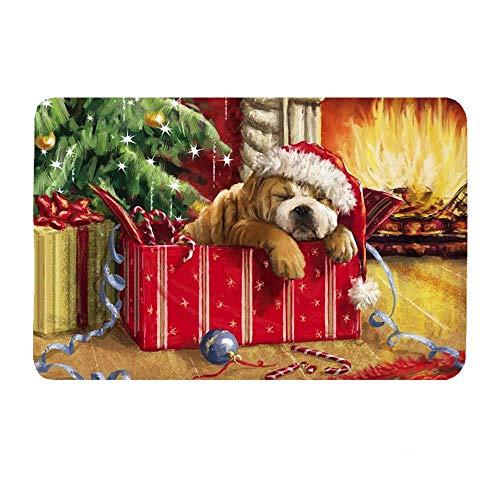 Deurmat tapijt, 3D-bedrukte cartoon kerstboom en hond antislip soft ingang tapijt mat, voetmat welkom slaapkamer hal tapijt rechthoekige vloermat voor huis woonkamer keuken 40×60cm