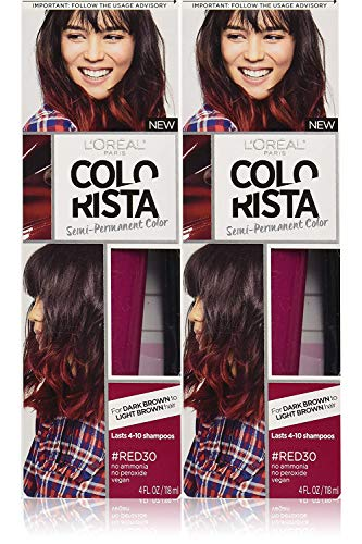 L'Oréal Paris Colorista Semi-Permanent Hair Color For Brunettes, Red, 2 Pack