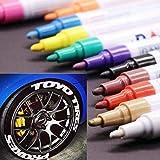 12Pcs Pennello per pneumatici impermeabile, antiscivolo, pennarello oleoso per vernice per pneumatici per auto/acciaio/gomma/legno/plastica/vetro/tessuto/piastrelle
