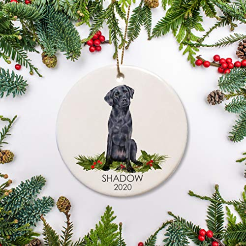 Lplpol Black Lab Christmas Ornament, Personalized Dog Ornament, Black Labrador for Dog Lovers Pet's First Christmas Family Dog Ornament, 3 Inch Ceramic Round Ornament Keepsake, PSp065