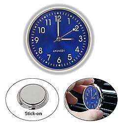 EEEKit Car Clock, Luminous Quartz Analog Watch Universal Pocket Mini Stick-On Clock for Car Boat Bike Home (Blue)